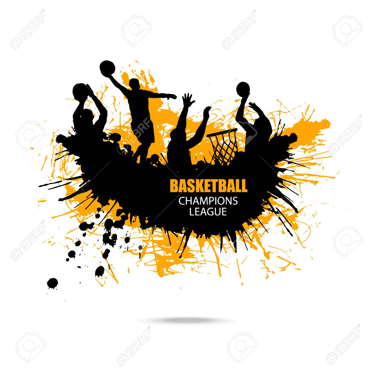 Images 1544025105 83345988 vector design for basketball hand drawing grunge style splashes abstract ink background